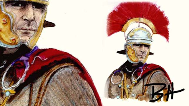 Roman centurion. Watercolor.